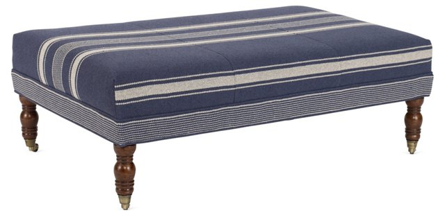 Hillcrest Ottoman, Blue/Beige