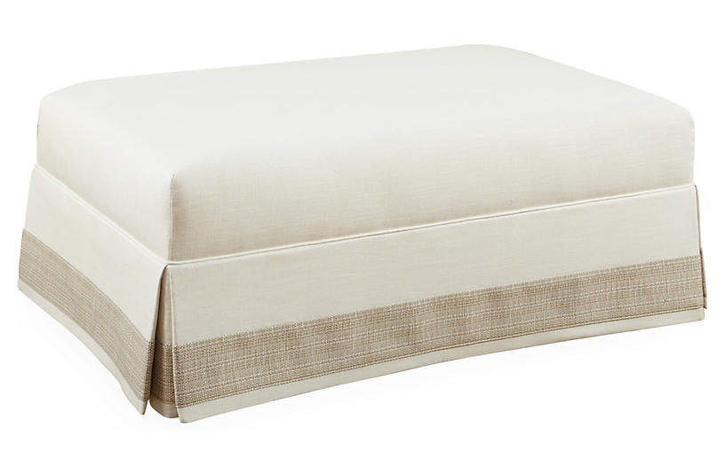 Dandee Skirted Cocktail Ottoman, Ivory
