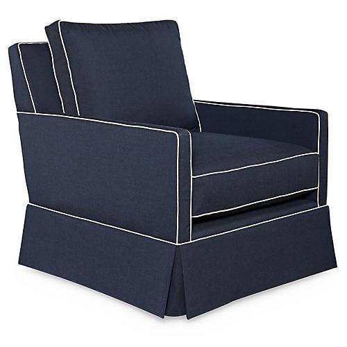 Auburn Swivel Club Chair, Indigo Sunbrella