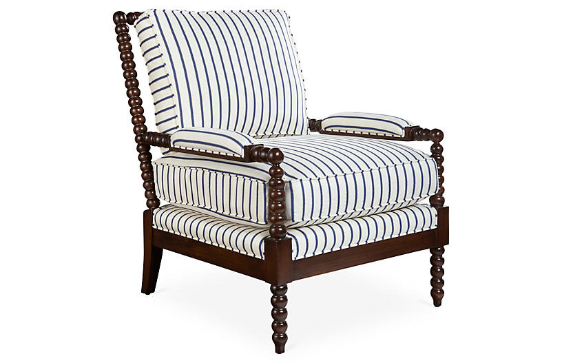 Bankwood Spindle Chair, Navy Stripe