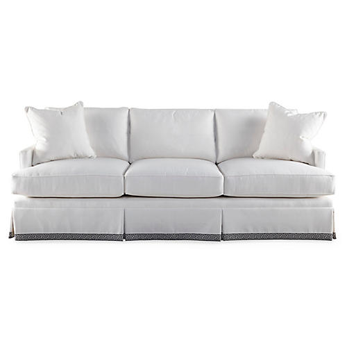 "Bloomfield 84"" Skirted Sofa, Sunbrella"