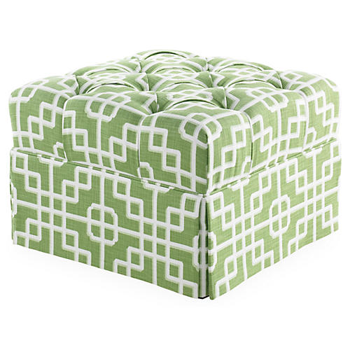 Gains Tufted Ottoman, Moss Lattice