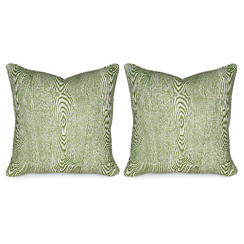 S/2 Wood Leaf 20x20 Pillows, Green