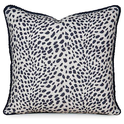 Leopard Path 20x20 Pillow, Navy