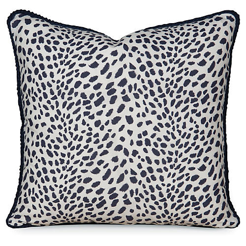 Leopard Path 20x20 Pillow, Navy