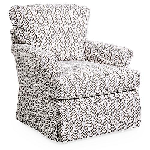 Tybee Swivel Club Chair, Gray Hillside