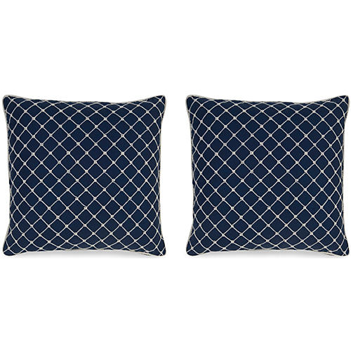 S/2 Elaine 19.5x19.5 Pillows, Navy