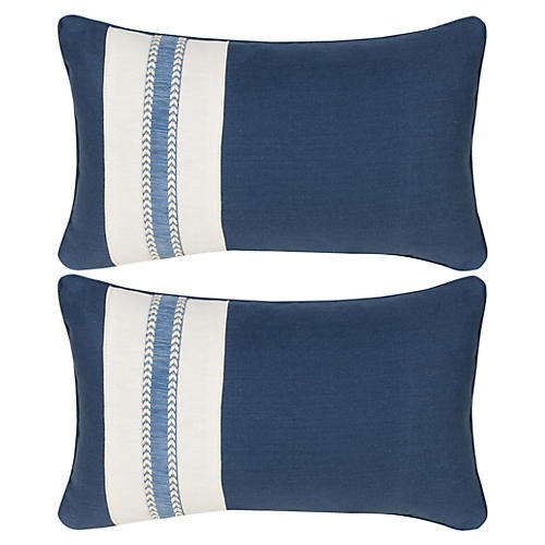 S/2 Glynn 12x20 Pillows, Indigo