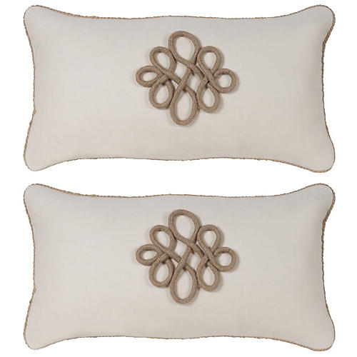 S/2 Glynn 12x23 Pillow, Antiqued White
