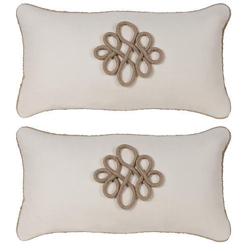S/2 Glynn 12x23 Pillow, Antiqued White