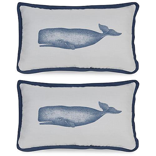 S/2 Blue Admiral 12x20 Pillows, Indigo