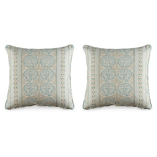 S/2 Fair Isle 19.5x19.5 Pillows, Aqua