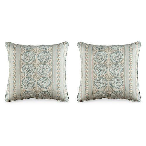 S/2 Fair Isle 19.5x19.5 Pillows, Aqua