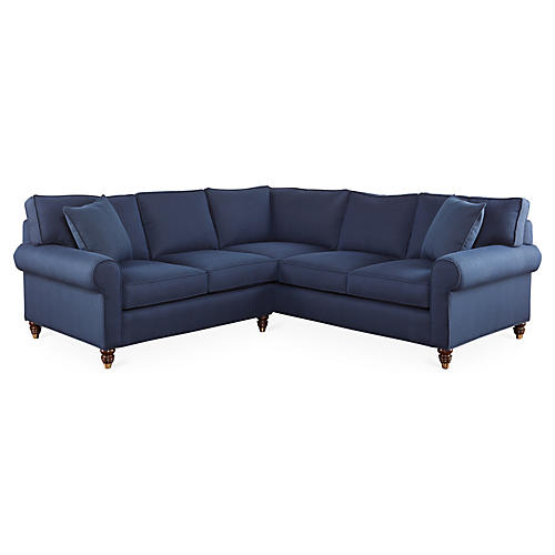 "Abby 90"" Sectional, Midnight Blue"