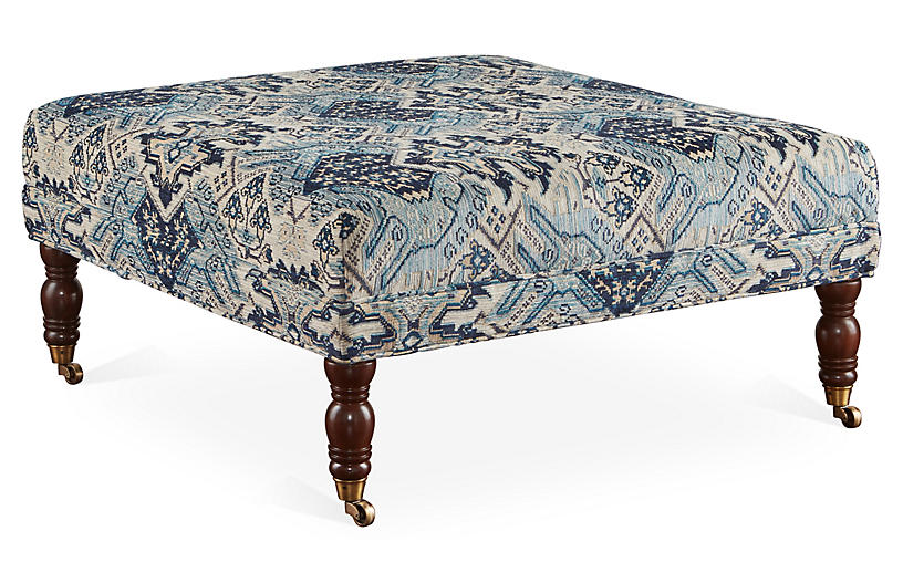 Alice Cocktail Ottoman, Blue/Multi