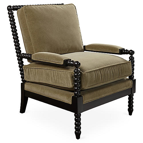 Bankwood Spindle Chair, Moss Velvet