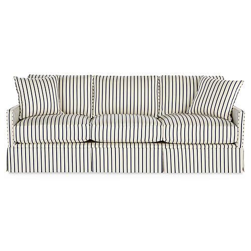 "Auburn 84"" Sofa, Navy Stripe"