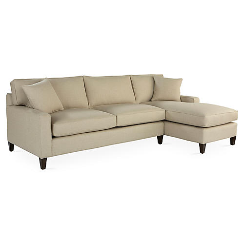 Liza Right-Facing Sectional, Tan Crypton