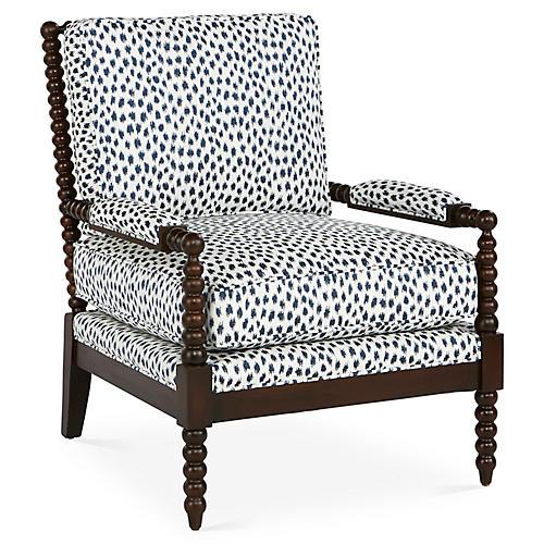 Bankwood Accent Chair, Indigo Spot Sunbrella
