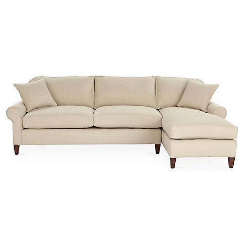 Abby Right-Facing Sleeper Sectional, Natural
