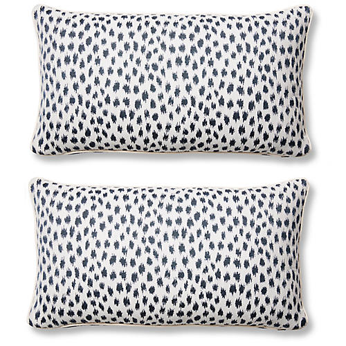 S/2 Agra Lumbar Pillows, Indigo Sunbrella