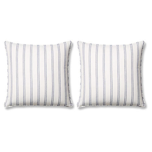 S/2 Espadrille 20x20 Pillows, Blue Sunbrella