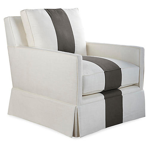 Auburn Swivel Club Chair, Charcoal Stripe
