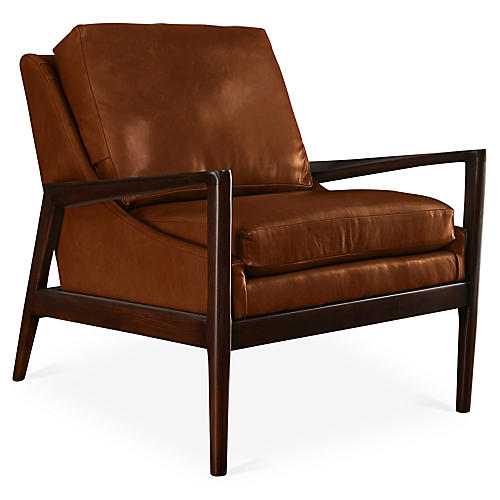 Ebonwood Accent Chair, Saddle Leather