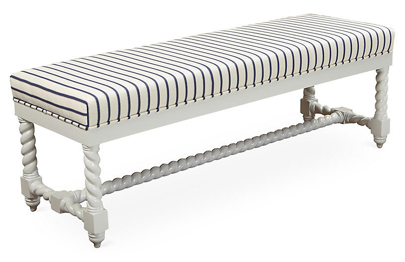 Lally Bench, Navy Stripe