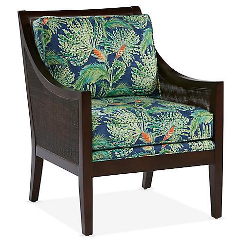Windwood Accent Chair, Navy/Green Linen