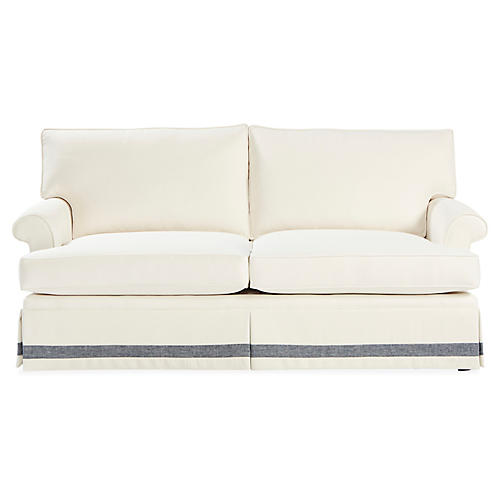 Montrose Sofa, White/Chambray Crypton