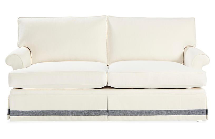 Montrose Sofa, White/Chambray Crypton