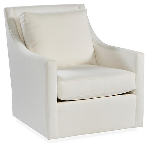 Fairfax Swivel Club Chair, White Crypton