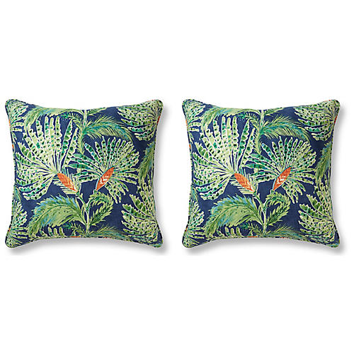 S/2 Sable Palm Pillows, Green Linen