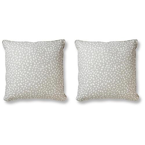 S/2 Little Ditty Pillows, Gray Linen