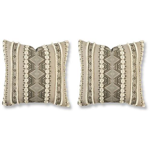 S/2 Handira 20x20 Pillows, Ash Linen