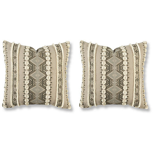 S 2 Handira 20x20 Pillows Ash Linen