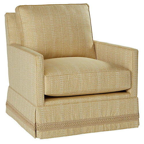 Auburn Skirted Swivel Chair, Marigold/Beige
