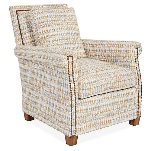Levi Club Chair, Taupe/White