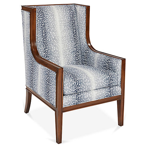 Springfield Wingback Chair, Indigo/White Linen