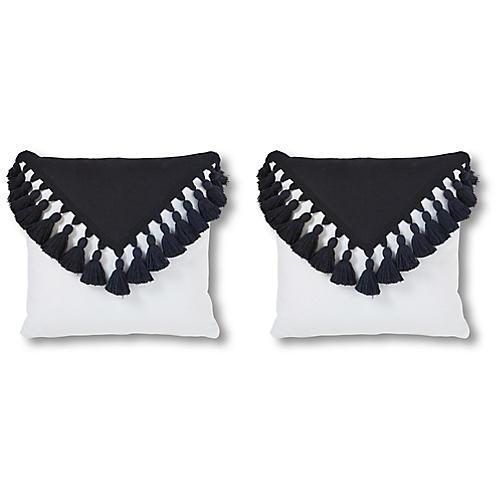 S/2 Cavalier 20x20 Pillows, White/Black
