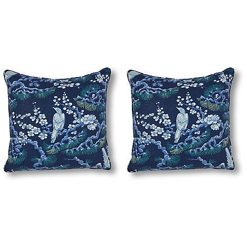 S/2 Savoy Overlook 20x20 Pillows, Ink Linen
