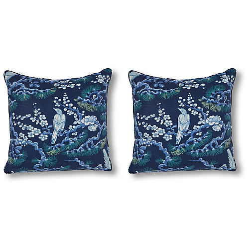 S/2 Savoy Overlook 20x20 Pillows, Ink Linen
