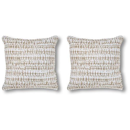 S/2 Shibori Pillows, Natural
