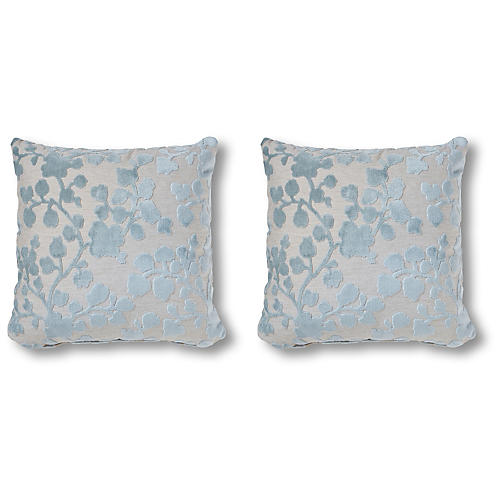 S/2 Flora Pillows, Mist