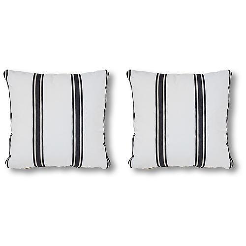 S/2 Aledo 20x20 Pillows, Onyx/White