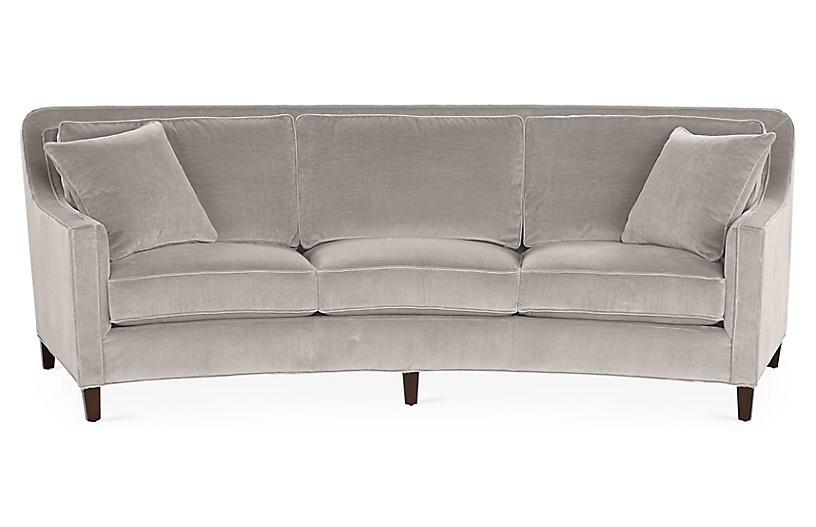 Cayman Curved Sofa, Gray Velvet