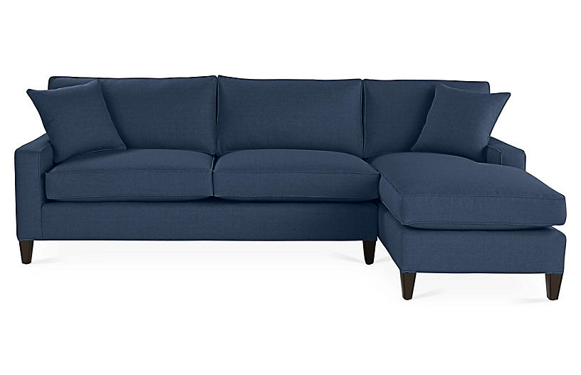 Liza Right-Facing Sectional, Indigo Linen