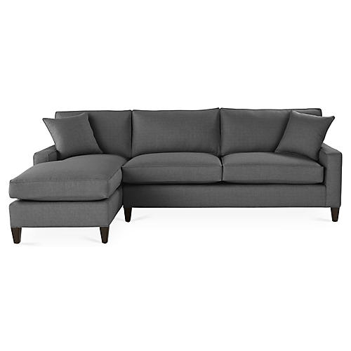 Liza Left-Facing Sectional, Charcoal Crypton