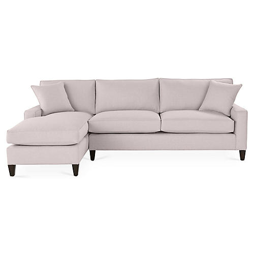 Liza Left-Facing Sectional, Quartz Linen
